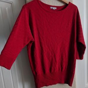 Red Dolman sleeve sweater